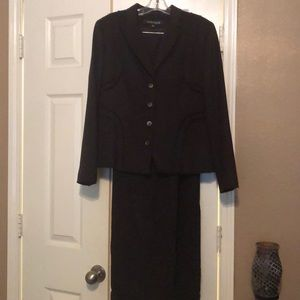 Anne Klein cashmere dark purple suit